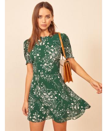 Зеленое платье с цветами 18190