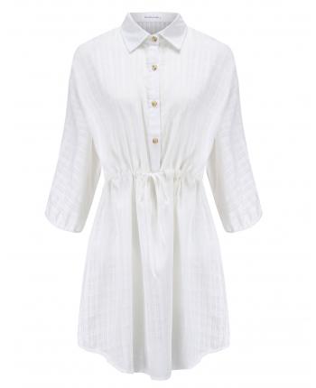 Белое платье с рукавом три четверти 18483