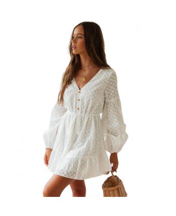 Белое платье с длинным рукавом 18579