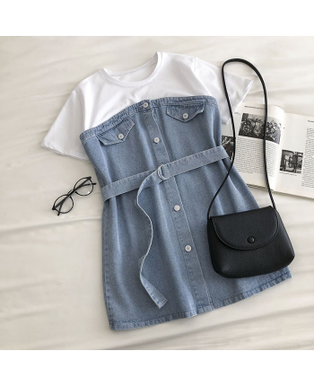 Комбинированное джинсовое платье 18787