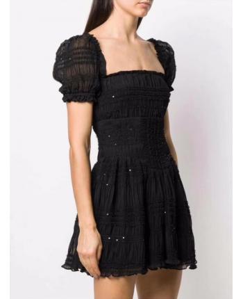 Черное платье с бусинами 19048