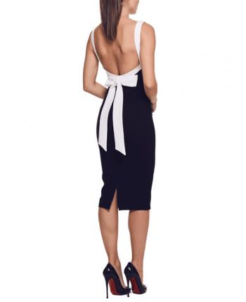 Двухцветное платье с открытой спиной 18990