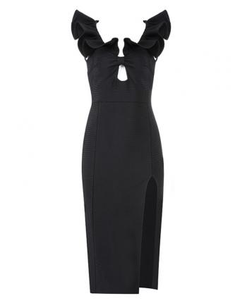 Черное платье с разрезом 19019