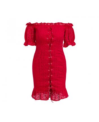 Красное платье со шнуровкой 19015