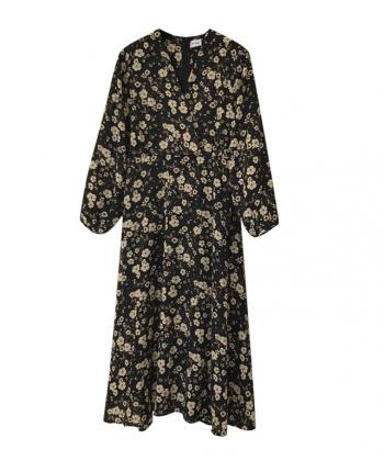 Черное цветочное платье 19573