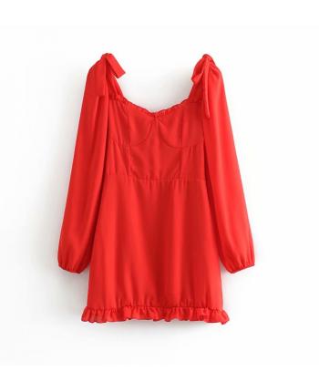 Красное платье с декольте 19519