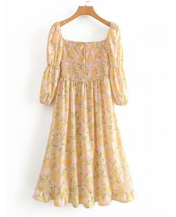 Желтое платье с цветами 19539