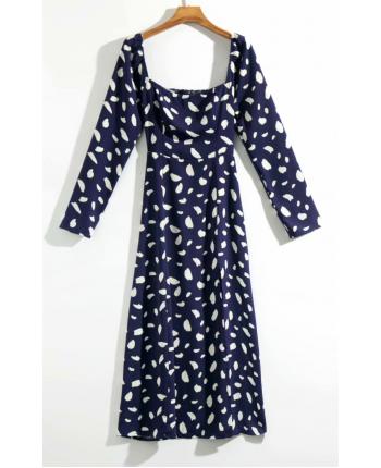 Синее платье с разрезом 19541