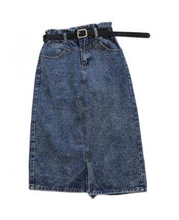 Джинсовая юбка с поясом 19807