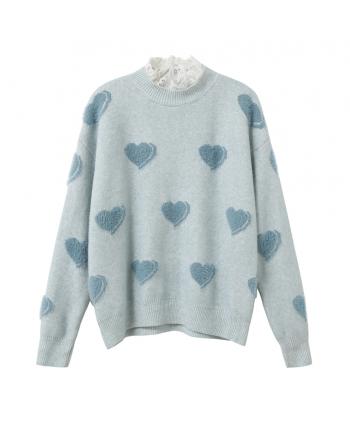 Мягкий свитер с сердечками 19825