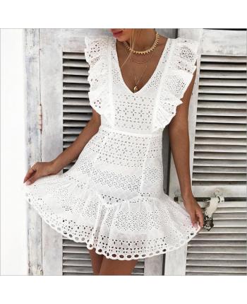 Кружевное платье с V-вырезом 17001