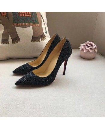 Чорні шкіряні туфлі зі стразами 17928