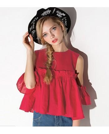 Короткая блуза с воланами 14419