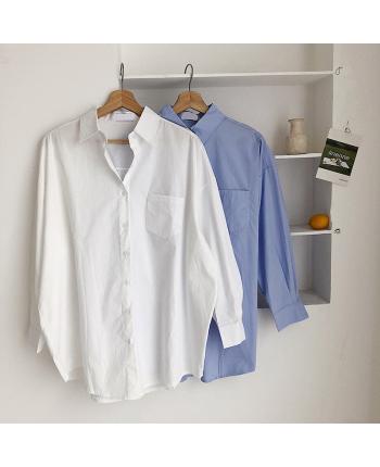 Однотонна бавовняна сорочка 18458