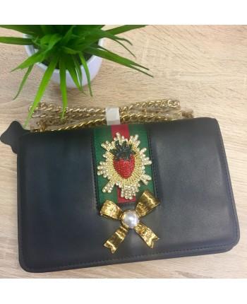 Кожаная сумка с брошью 16304